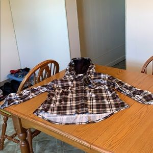 Polly & Esther faux Sherpa hood flannel shirt, XL.